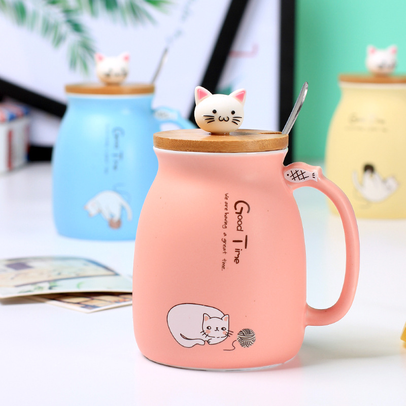 Cartoon Cat Mug Pink